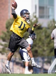 (John Byrne/Tribune) Wolf Pack red-shirt freshman quarterback Hunter Fralick, a 2014 Spanish Springs graduate, impressed many with his performance in the spring game. Coach Brian Polian hasn't decided yet on who will start at quarterback.