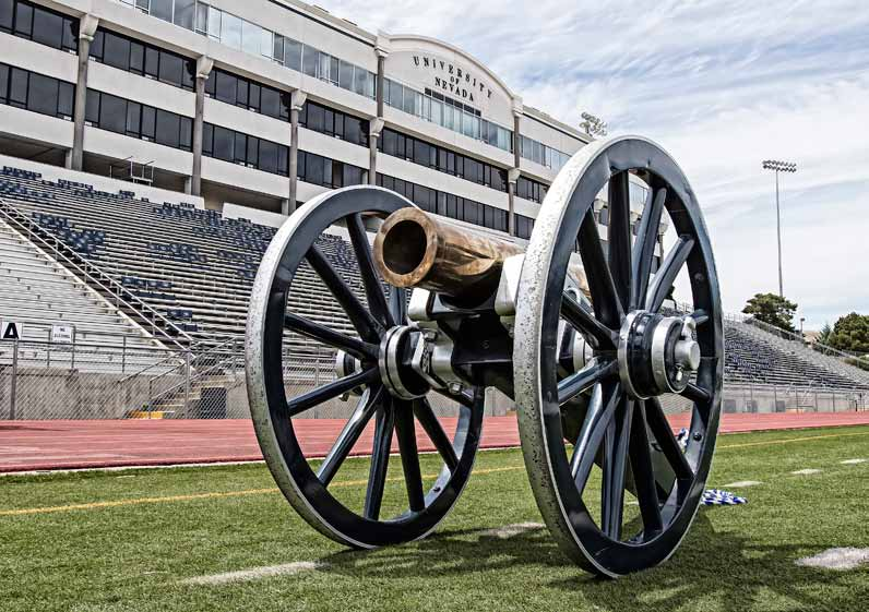 John Byrne/Tribune It's UNLV Week. The Rebels come to Mackay Stadium on Saturday afternoon for the 41st annual Battle for the Fremont Cannon (pictured). Nevada leads the all-time series 24-16, but the teams have split the last two contests, with the road team winning each of those games. The Fremont Cannon is actually a replica of a howitzer that accompanied Captain John C. Fremont on his expedition through Oregon, Nevada and California in 1843-1844. A preview of the football game can be found on page 11.