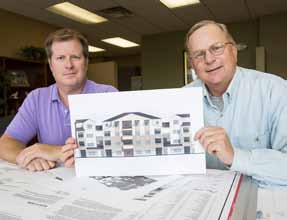 John Byrne/Tribune Doug Hunter, left, and J. Carter Witt III of Silverwing Development are overseeing a large residential project in Victorian Square, a 236-unit apartment complex called Fountainhouse.