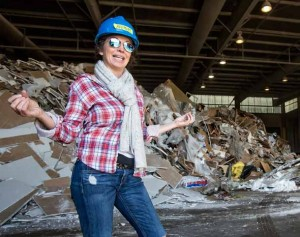 John Byrne/Tribune Anne Marie Carey of Rubbish Runners is shown at the Nevada Recycling & Salvage warehouse where recyclable materials are sorted.  Rubbish Runners is a sister company that transports material to Nevada Recycling & Salvage.