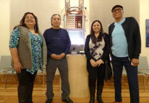 Photo courtesy of Amheric M. Hall Members of the Great Basin Native Artists gathered at a recent reception for their art exhibit at the Sparks Museum and Cultural Center. From left, Louinda Garity, Ben Aleck, Melissa Melero, and Phil Buckheart stand next to Buckheart's mixed media sculpture. Not pictured: Topaz Jones, painter, who was out of town.