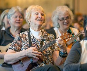 John Byrne/Tribune Patti McDonel of Reno strums her instrument at the 8th annual Reno Ukulele Festival over the weekend.