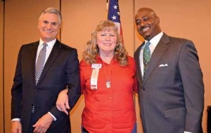 Courtesy photo Sparks Republican Women's President Cher Daniels welcomed Washoe County incumbent Commissioner Vaughn Hartung, left, and challenger Maurice Washington to the club's recent meeting.