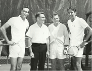 Opening Day at the Tahoe Racquet Club in 1965: (from left) Mal Anderson, Nevada Governor Grant Sawyer, Club Owner Peter Paxton and Pancho Gonzales.
