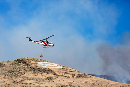 Courtesy photo -  The Truckee Meadows Fire Protection District announced Friday that a brush fire east of Sparks was fully contained after burning an estimated 2,541 acres. The blaze started Wednesday and was located just outside of city limits on BLM land.