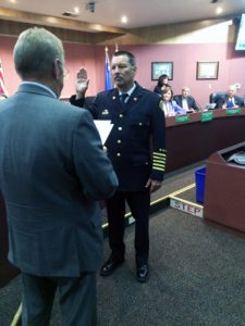 Kayla Anderson - New Sparks Fire Chief Christopher Maples gets sworn in at the Sparks City Council meeting on Monday afternoon. Maples is just the 12th chief in the 111-year history of the department.