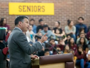"John Byrne/Tribune -  During a visit to Sparks High School on Monday, Gov. Brian Sandoval proclaimed the 2016-17 school year the ""Year of STEM,"" promoting science, technology, engineering and mathematics education."