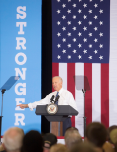 """John Byrne/Tribune - Vice President Joe Biden said Donald Trump is """"the least qualified nominee from any political party in the history of the United States of America'' during a rally at Wooster High on Saturday afternoon."""