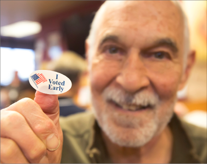 John Byrne/Tribune - Norman Schiff of Sparks was one of many that took advantage of early voting in this year. A record 129,727 cast their ballots early in Washoe County.