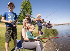 Good turnout for kids free fishing day for Sparks marina fishing