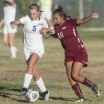 Sparks defender Citali Lopez battles for possession with Lowry's Hailey Fernandez in a 3-1 loss at home Friday.